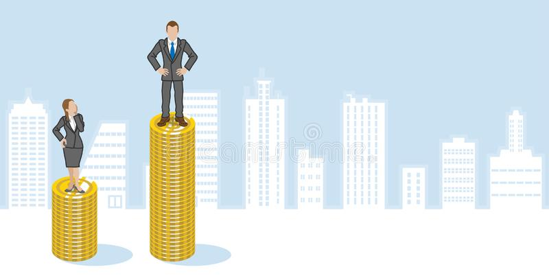 Two employees standing on the piled coins - gender wage gap issue concept art.  vector illustration