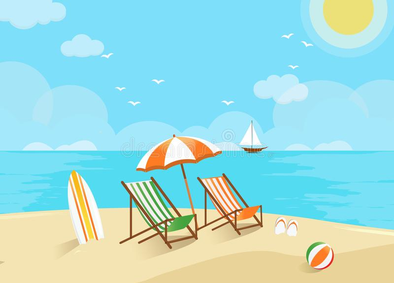 The Beach With An Umbrella And Chairs Stock Vector
