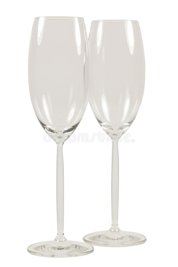 Two empty champagner glasses isolated on White background. Luxury royalty free stock image