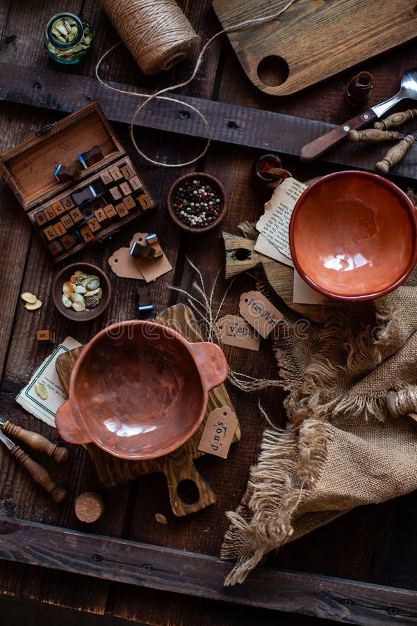 Two empty clay bowls stock photos