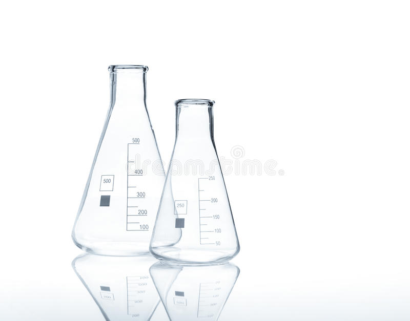 Two empty conical Erlenmeyer flasks