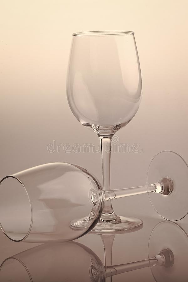 Two empty glasses stock images