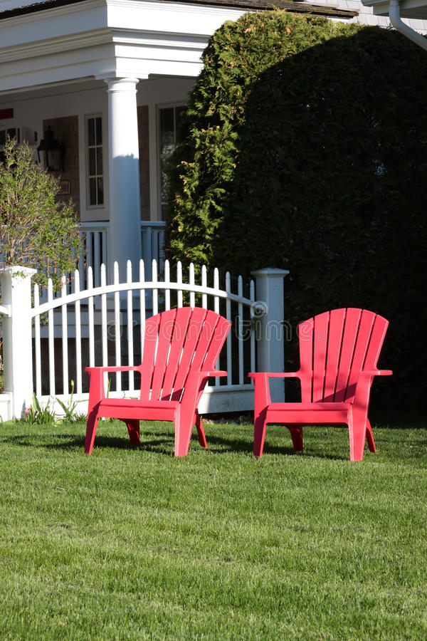 Download Two Empty Red Lawn Chairs Stock Image. Image Of House   11637275