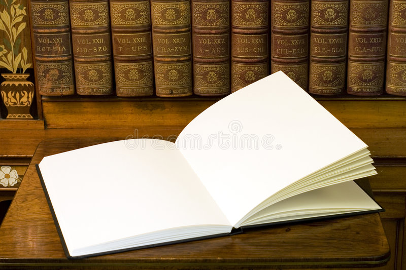 Two empty white pages in book stock photography