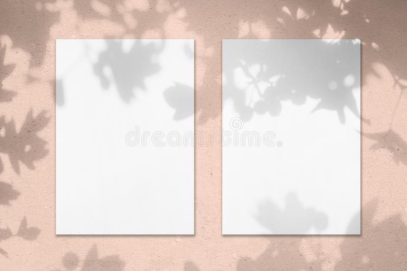 Two empty white vertical rectangle poster mockups with leaves shadows stock photography