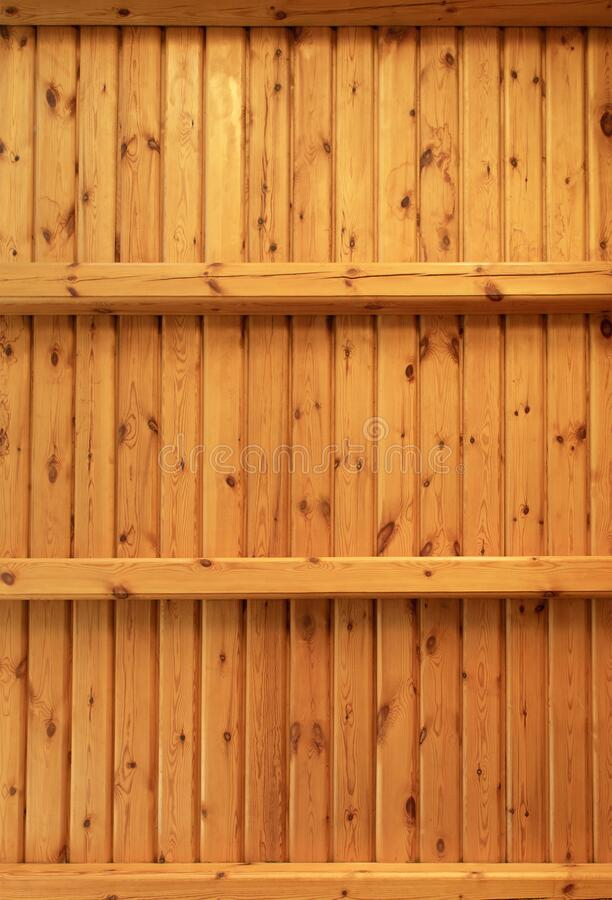 Two empty wooden shelves or rack stock photography