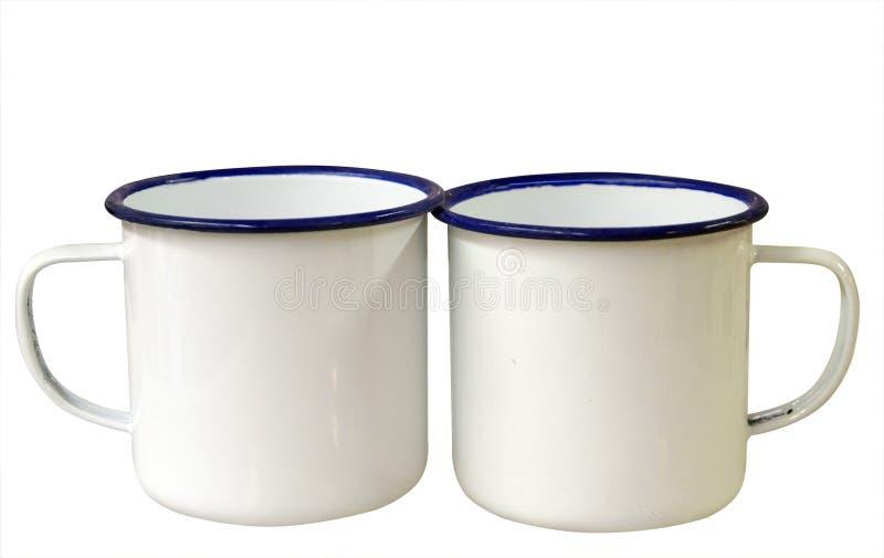 Two Enamel Mugs Royalty Free Stock Image