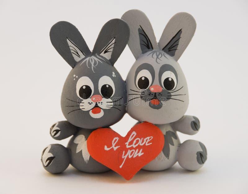 Two enamored rabbit stock image