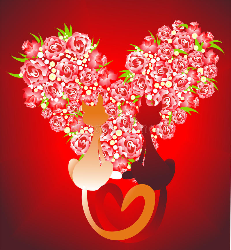 Download Two Enamoured Cats Against Heart. Vector Royalty Free Stock Photos - Image: 12468078
