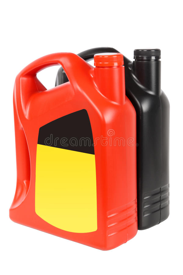 Two engine oil bottle royalty free stock images