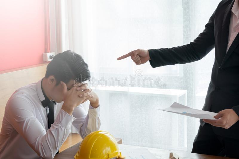 Two engineer or businessman complain the Mistake. Two engineer or businessman Boss complain the Mistake to another stock photo