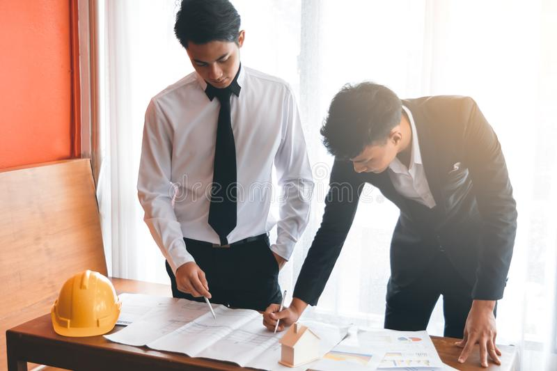 Two engineer working together royalty free stock photos