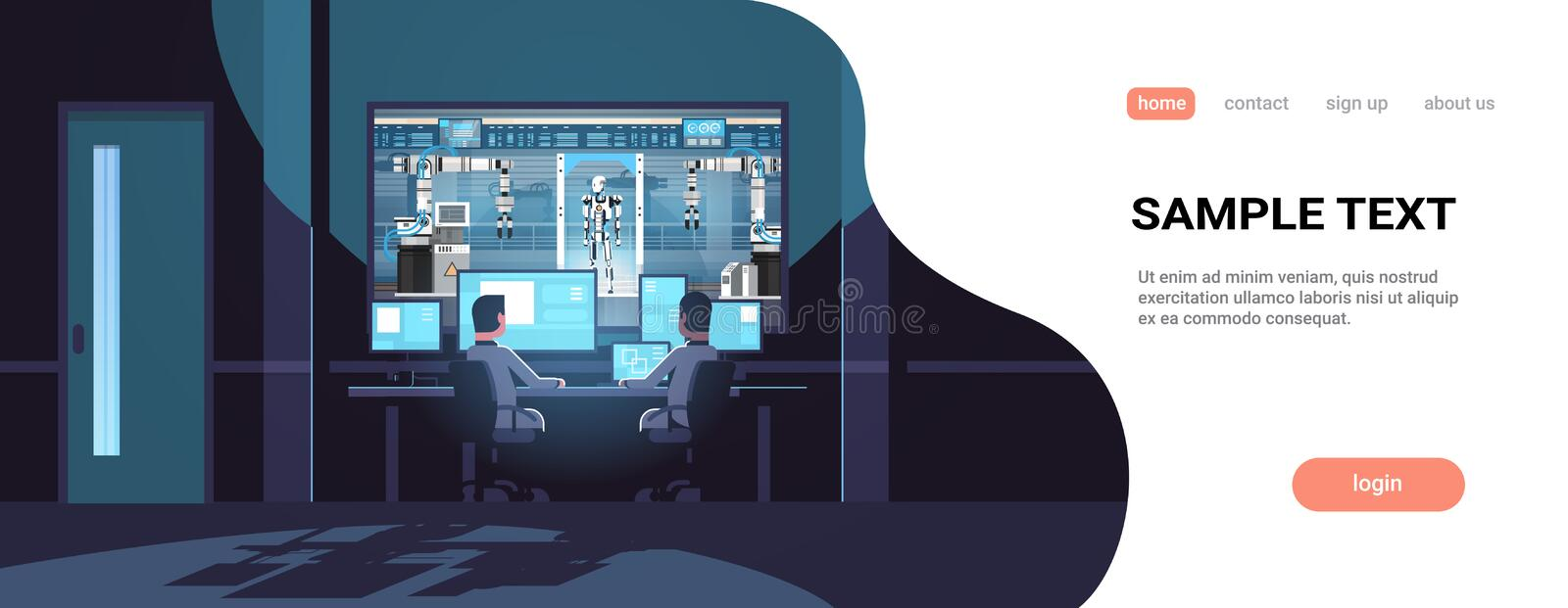 Two engineers looking at monitors behind glass robot production factory robotic industry artificial intelligence dark stock illustration