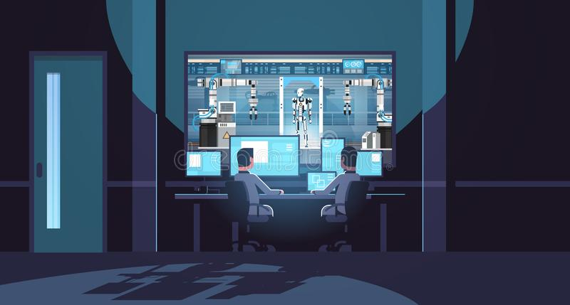 Two engineers looking at monitors behind glass robot production modern factory robotic industry artificial intelligence royalty free illustration