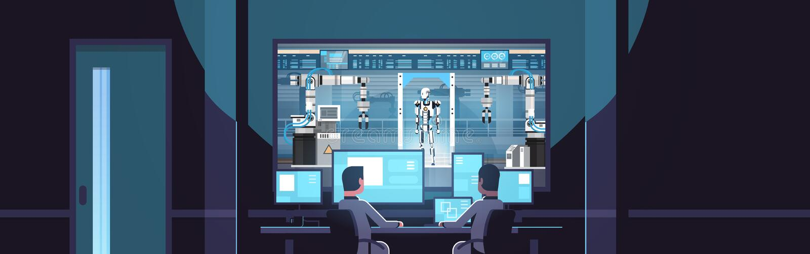 Two engineers looking at monitors behind glass robot production modern factory robotic industry artificial intelligence. Dark office interior surveillance stock illustration