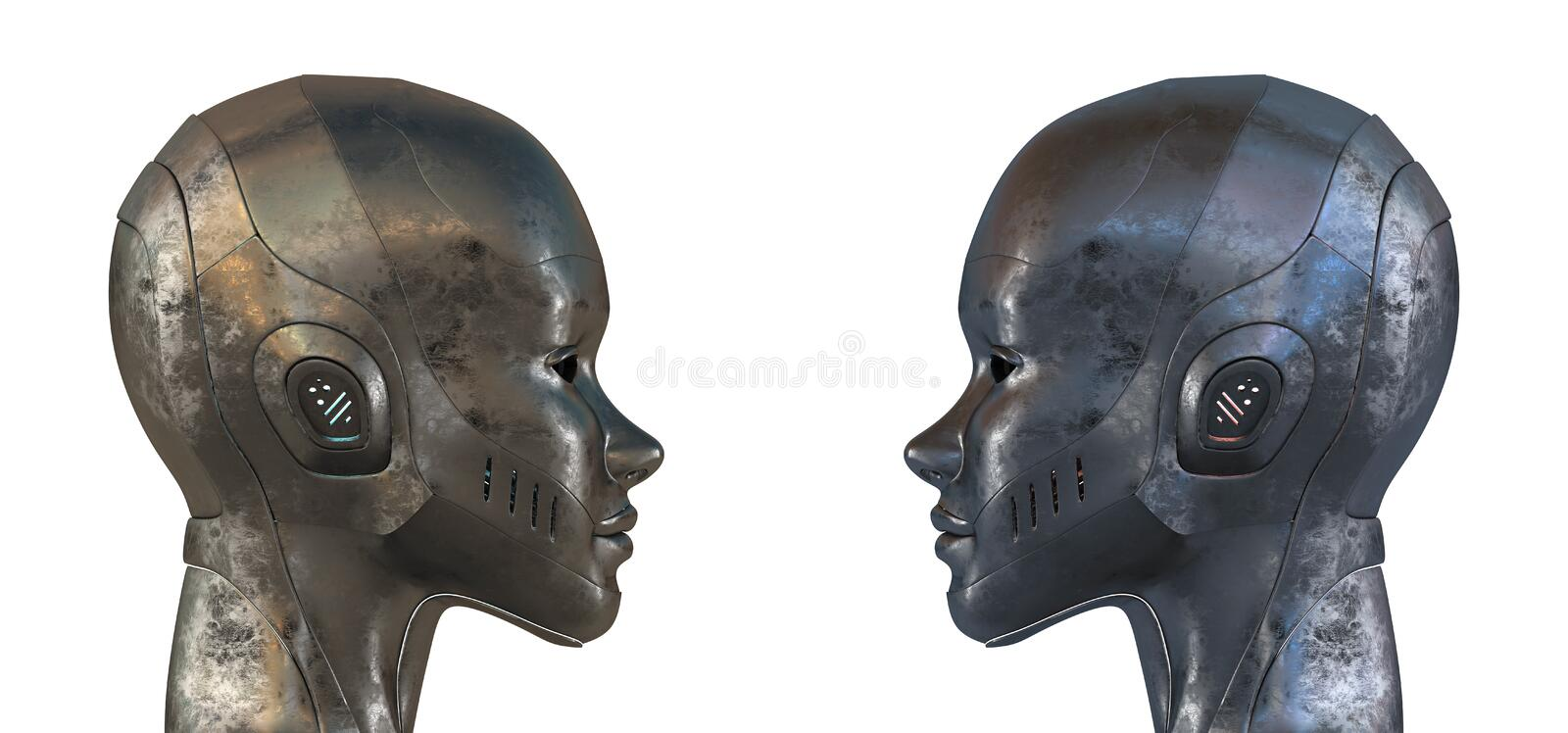 Two Equal Steel Robots In Profile Royalty Free Stock Images