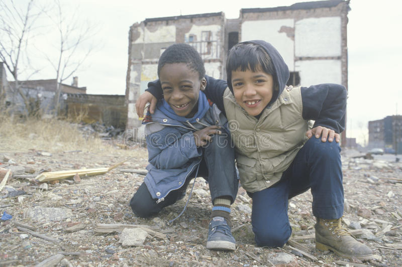 Two ethnic boys in the ghetto,. South Bronx, NY royalty free stock photos