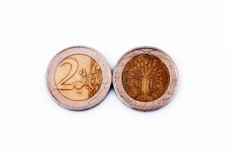 Two Euro. Coins isolated on white stock image