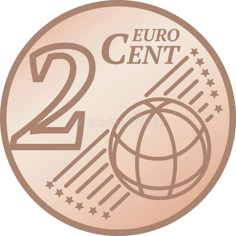 Two Euro Cent Coin. European Union 2 Euro Cent Coin vector illustration royalty free illustration
