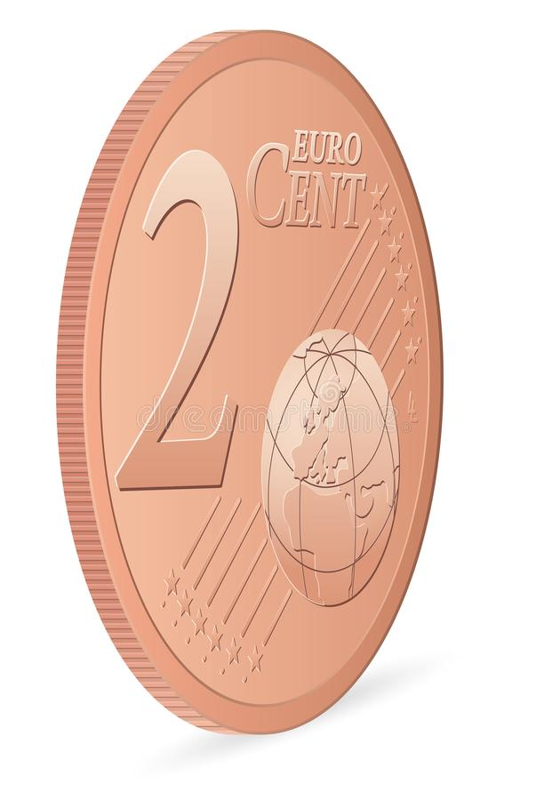 Two euro cent. Coin on a white background. Vector illustration stock illustration