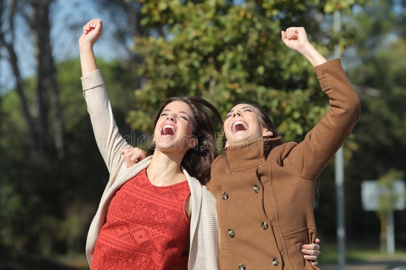 Two excited women celebrating success jumping together stock photo