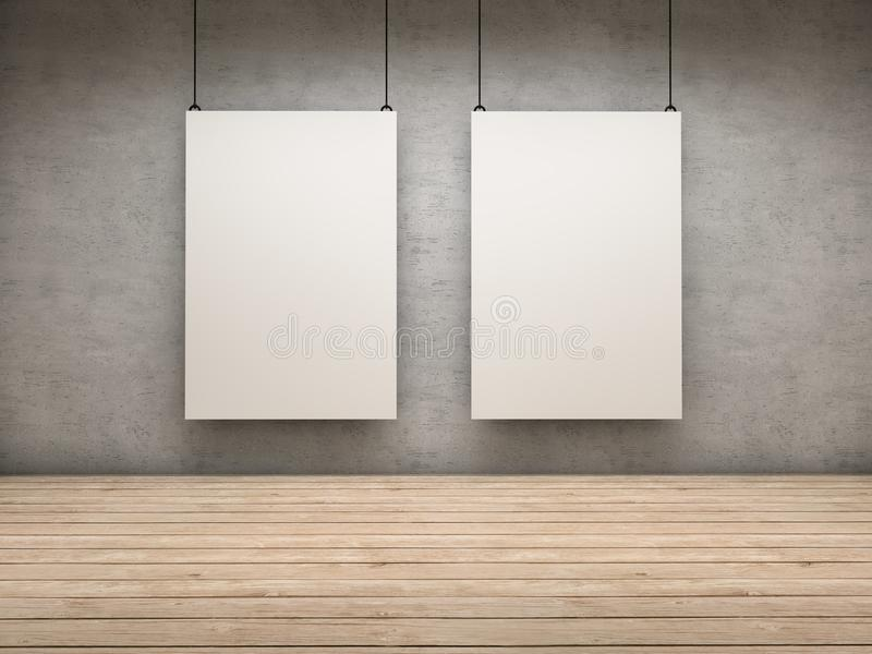 Two exhibitor. White empty exhibitor board hang in a room with beautiful light stock illustration