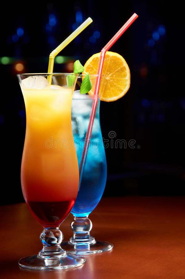 Two exotic cocktails. In a club royalty free stock photo