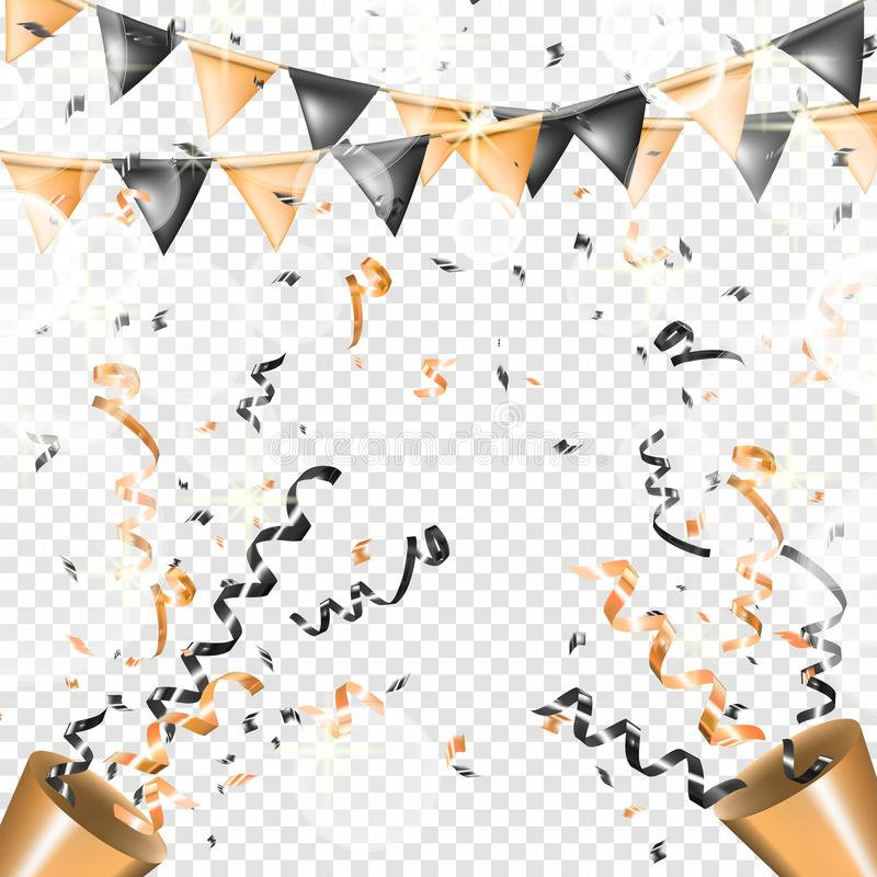 Two exploding gold party popper with serpentine and flag garland. Shine ribbon and confetti, glitter, stars, streamer stock illustration