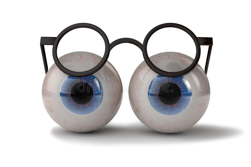Two eyes with glasses. 3d illustration two eyes with glasses stock illustration