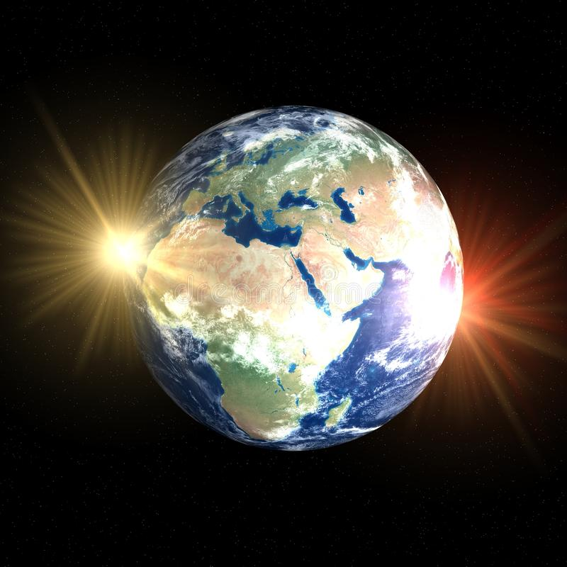 Two face of Earth stock photo