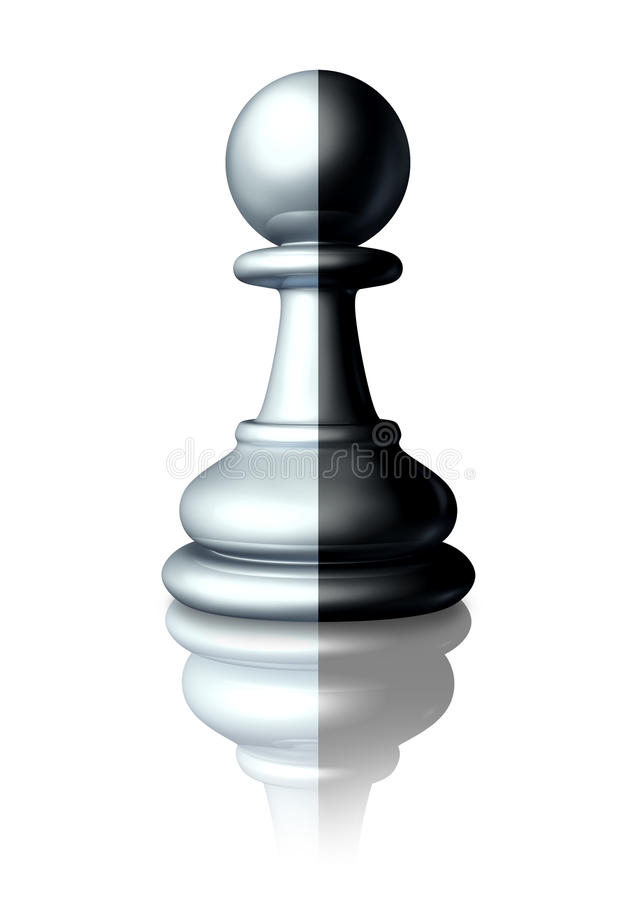 Two Faced. Or double agent secret agent as symbolised by a chess pawn that is painted white and black as a dishonest liar pretending to be somebody else or a royalty free illustration