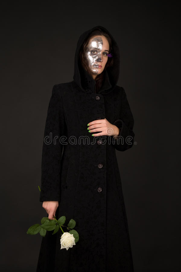 Download Two-faced Witch Holding The Rose Stock Photo - Image: 14035238