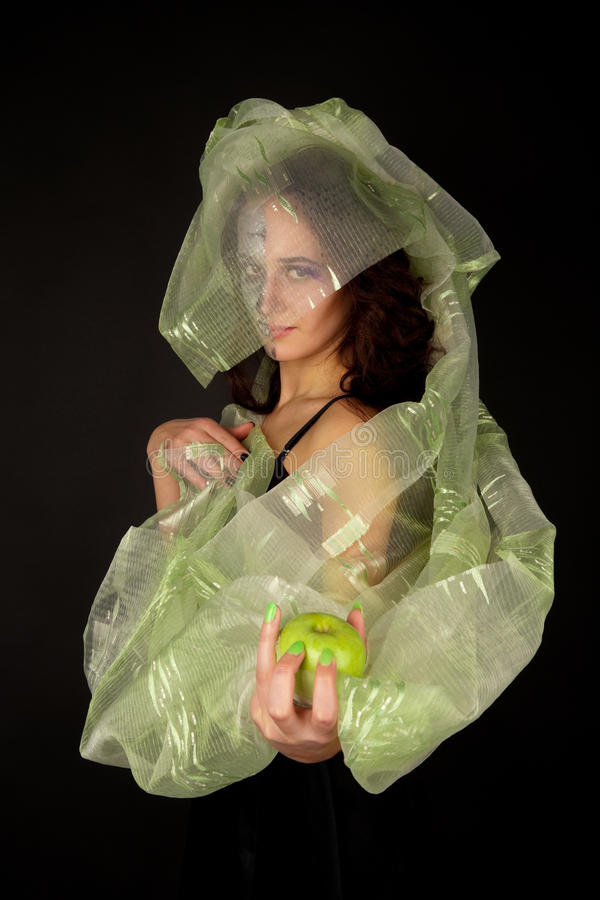 Download Two-faced Woman With Green Apple Stock Photo - Image: 11652964