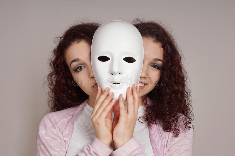 Two-faced woman manic depression concept royalty free stock photos