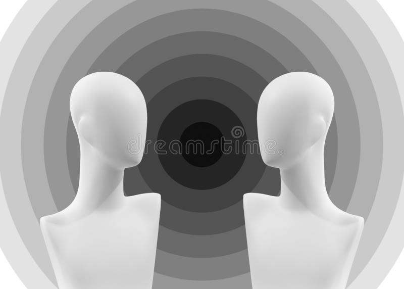Two faceless mannequins against each other royalty free stock photo