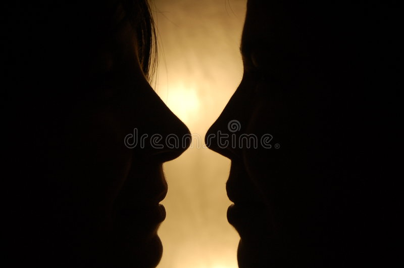 Two faces stock photography