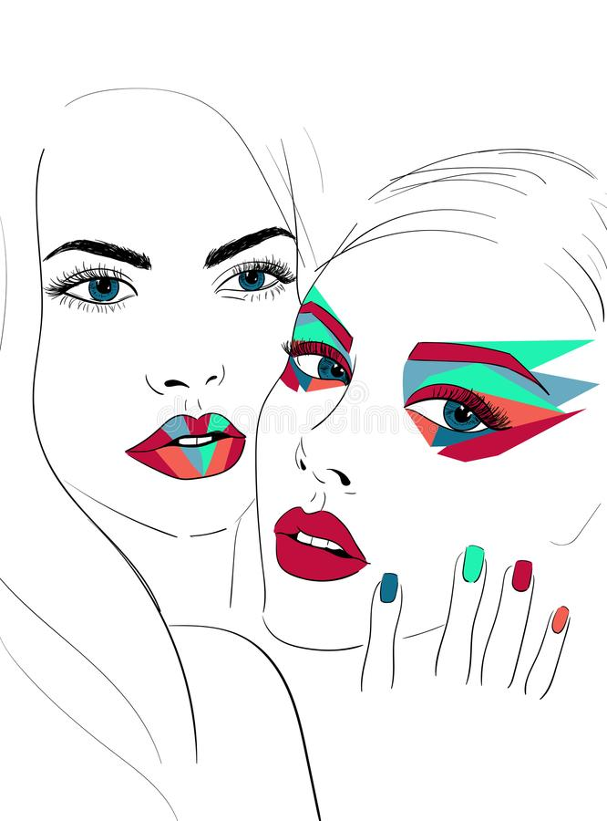 Two faces with bright makeup vector illustration