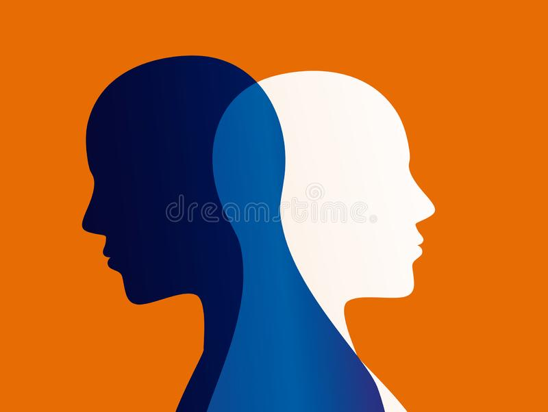 Mood disorder. Split personality. Bipolar disorder mind mental. Dual personality concept. stock illustration