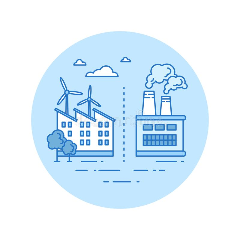 Factory reorganization icon in lineart style vector illustration