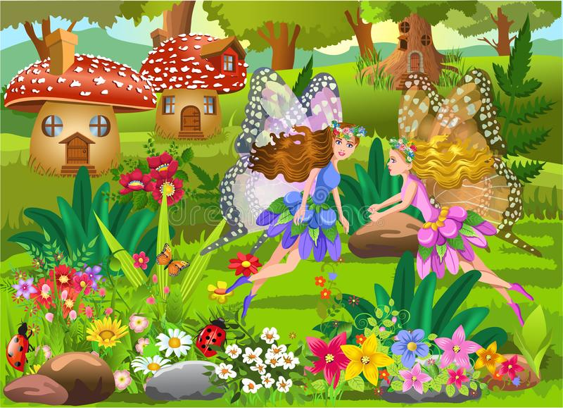 Fairies flying in a magic fairy tale landscape with mushroom houses and beautiful flowers vector illustration