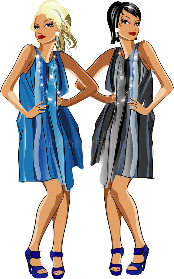 Two Fashion Girls Stock Photography