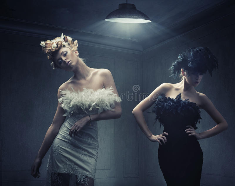 Two fashion ladies. Fine art photo of a two fashion ladies stock photography