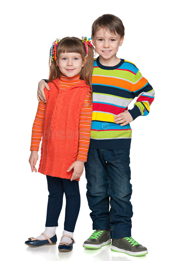 Two fashion smiling children royalty free stock images