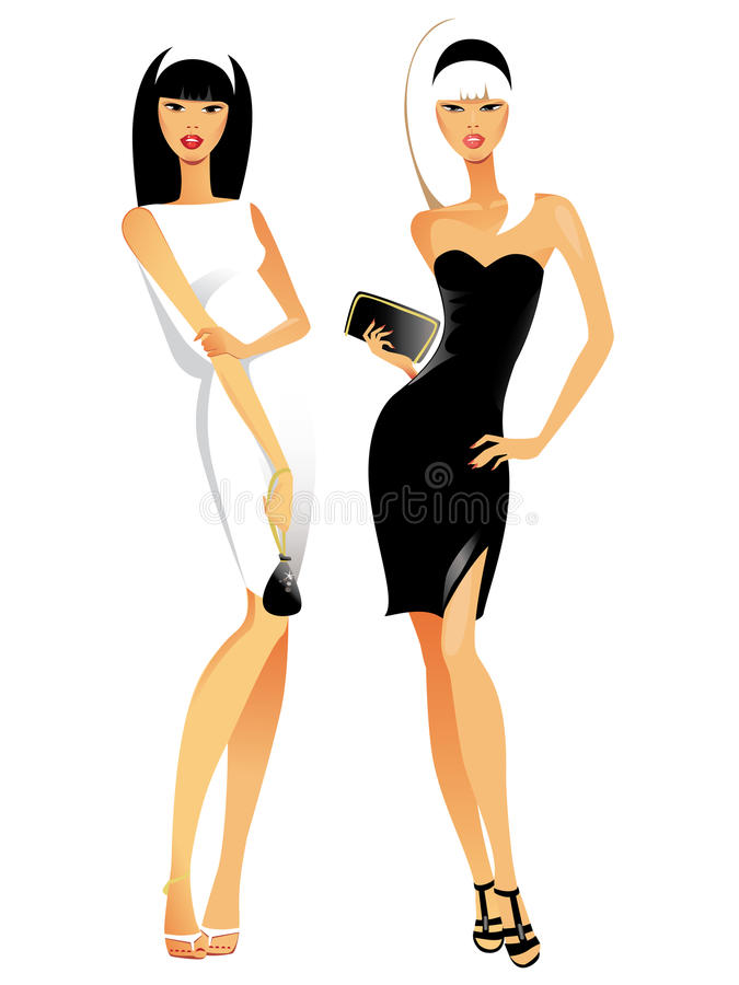 Download Two fashionable females stock vector. Image of beautiful - 14744317
