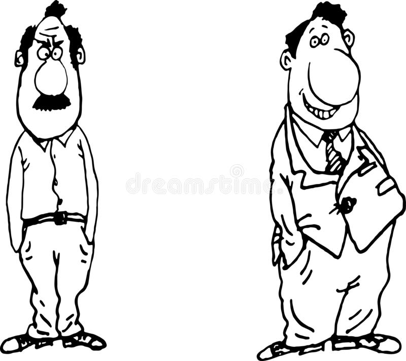 Two fathers sketch man .Vector illustration royalty free stock image