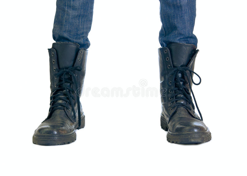 Download Two feet in big boots stock image. Image of human, jeans - 13963121