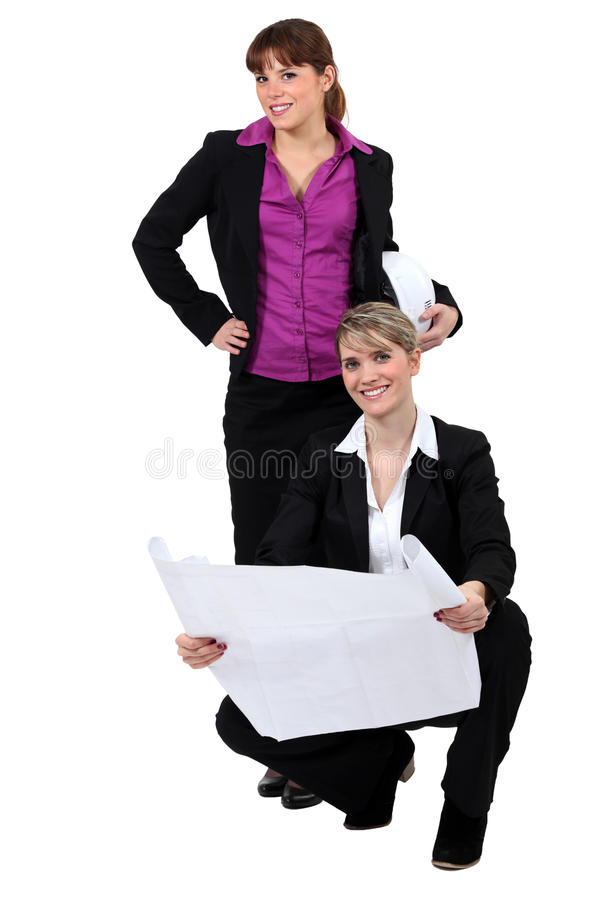 Two female architects stock photos