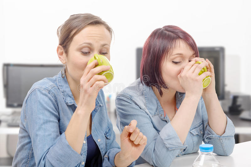 Two female colleagues are making a coffee break royalty free stock images