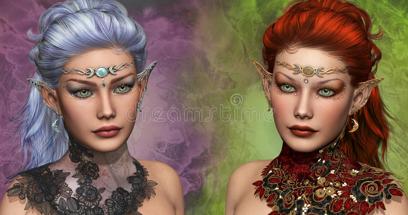 Two female Elven. Double portrait of two female elven with circlets and ear jewelrys stock illustration