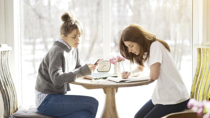Two female friends sitting in a cafe face to face stock photo
